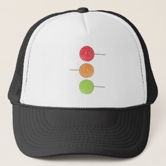 Colorful lollipop trucker hat