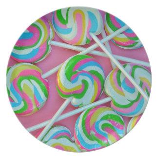 Colorful lollipops pattern melamine plate
