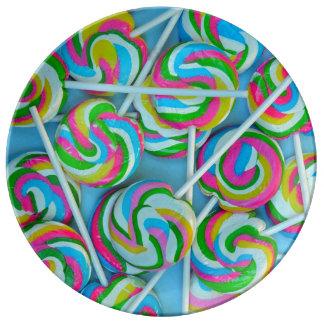 Colorful lollipops pattern plate