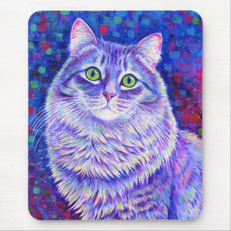 Colorful Longhair Gray Tabby Cat Mouse Pad