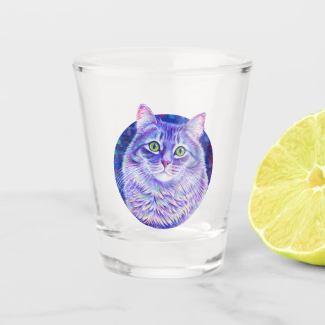 Colorful Longhair Gray Tabby Cat Shot Glass