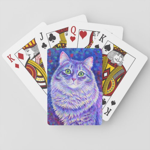 Colorful Longhaired Gray Tabby Cat Playing Cards