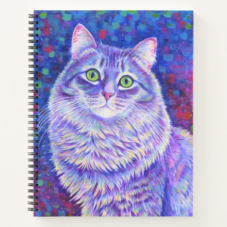 Colorful Longhaired Gray Tabby Cat Spiral Notebook