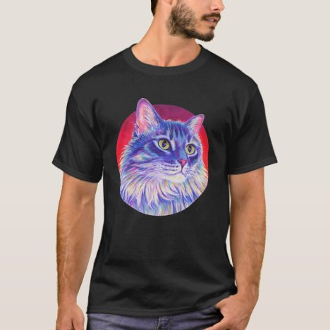 Colorful Longhaired Gray Tabby Cat T-Shirt