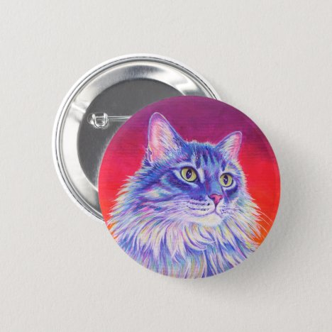 Colorful Longhaired Purple Tabby Cat Button