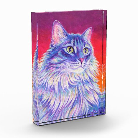 Colorful Longhaired Tabby Cat Acrylic Block