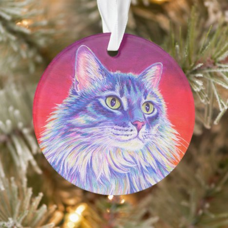 Colorful Longhaired Tabby Cat Acrylic Ornament