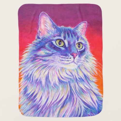 Colorful Longhaired Tabby Cat Baby Blanket