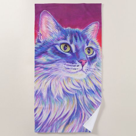 Colorful Longhaired Tabby Cat Beach Towel