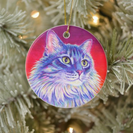 Colorful Longhaired Tabby Cat Ceramic Ornament