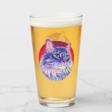 Colorful Longhaired Tabby Cat Drinking Glass Cup