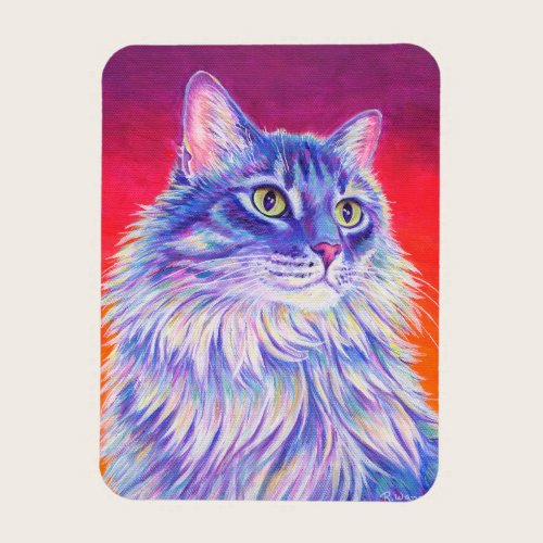 Colorful Longhaired Tabby Cat Flexible Magnet