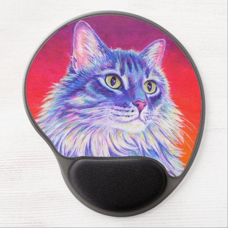 Colorful Longhaired Tabby Cat Gel Mousepad