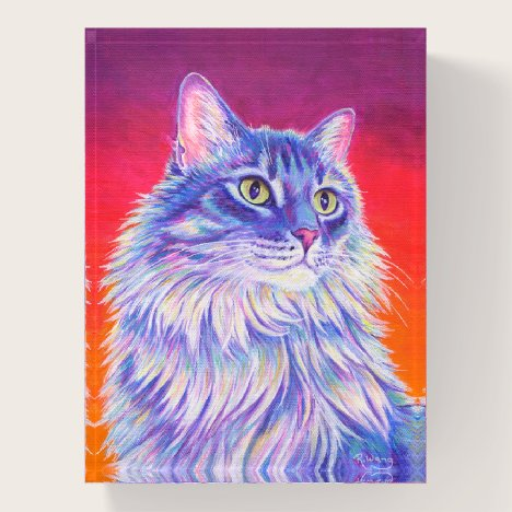 Colorful Longhaired Tabby Cat Glass Paperweight