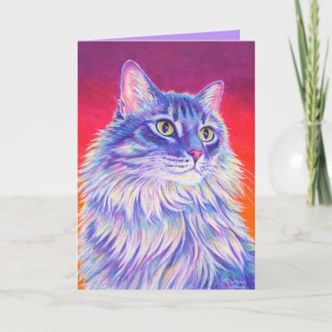 Colorful Longhaired Tabby Cat Greeting Card