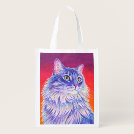 Colorful Longhaired Tabby Cat Grocery Bag