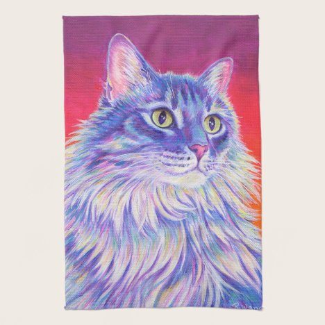 Colorful Longhaired Tabby Cat Kitchen Towels