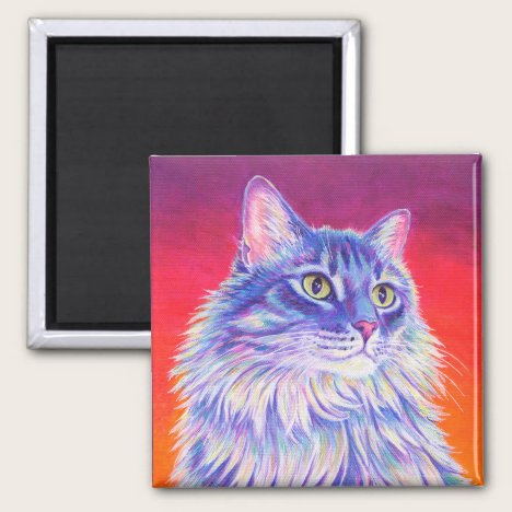 Colorful Longhaired Tabby Cat Magnet