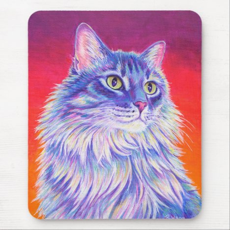Colorful Longhaired Tabby Cat Mouse pad