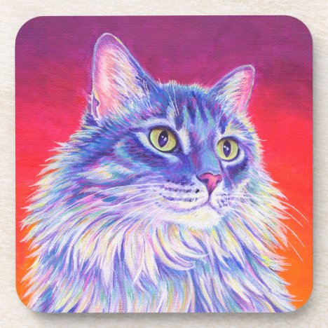 Colorful Longhaired Tabby Cat Plastic Coasters