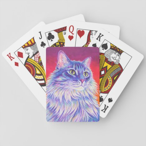 Colorful Longhaired Tabby Cat Playing Cards