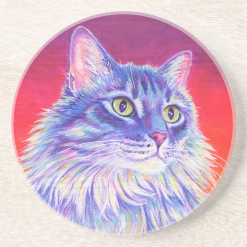 Colorful Longhaired Tabby Cat Sandstone Coaster