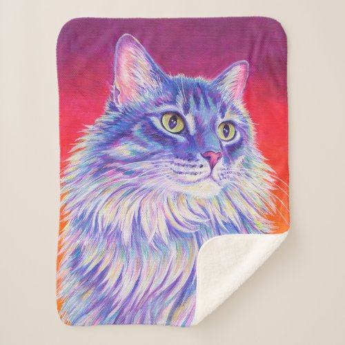 Colorful Longhaired Tabby Cat Sherpa Blanket