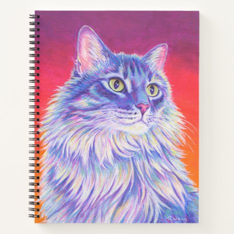 Colorful Longhaired Tabby Cat Spiral Notebook