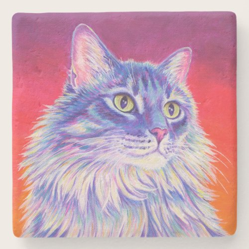 Colorful Longhaired Tabby Cat Stone Coaster