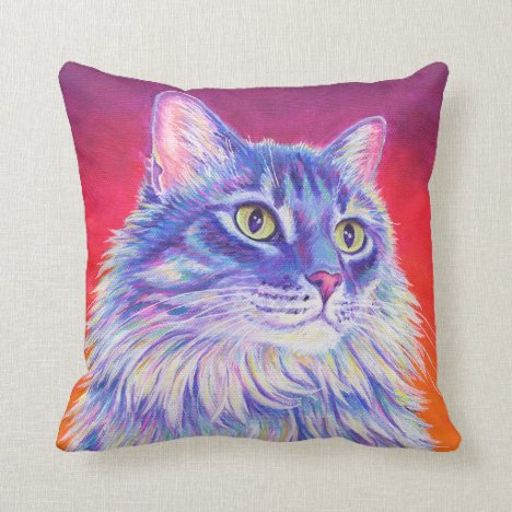 Colorful Longhaired Tabby Cat Throw Pillow