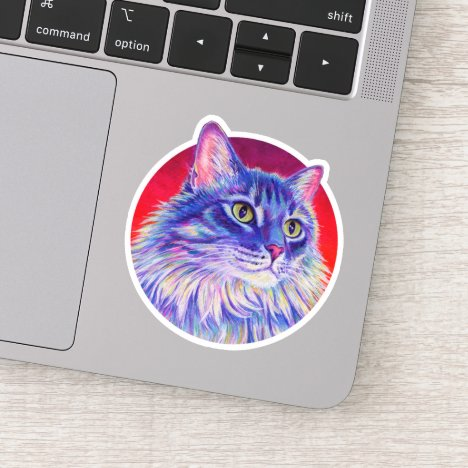 Colorful Longhaired Tabby Cat Vinyl Sticker