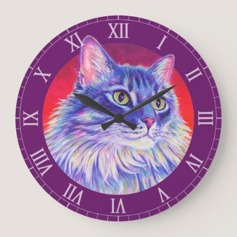 Colorful Longhaired Tabby Cat Wall Clock