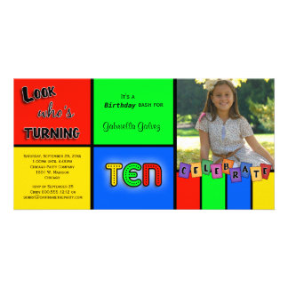 Colorful Look Whos Turning 10 Birthday Invite