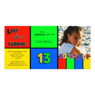 Colorful Look Whos Turning 13 Birthday Invite