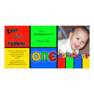 Colorful Look Whos Turning 1 Birthday Invite