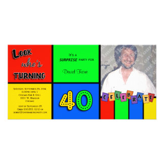 Colorful Look Whos Turning 40 Birthday Invite