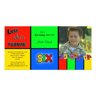 Colorful Look Whos Turning 6 Birthday Invite