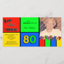 Colorful Look Whos Turning 80 Birthday Invite