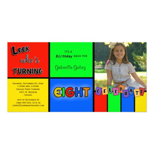 Colorful Look Whos Turning 8 Birthday Invite