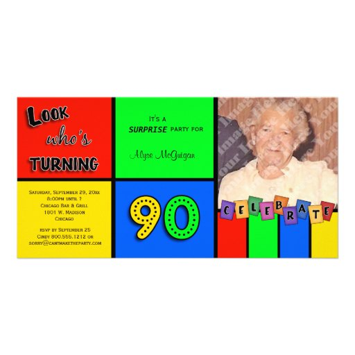 colorful look whos turning 90 birthday invite photo card template zazzle. Black Bedroom Furniture Sets. Home Design Ideas