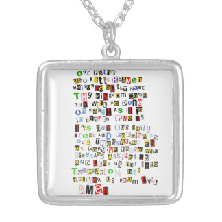 Colorful Lord's Prayer Silver Plated Necklace