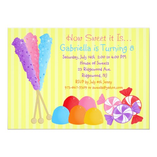Colorful Lots of Candy Kids Birthday Invitation