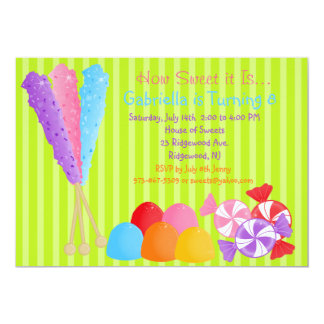 """Colorful Lots of Candy Kids Birthday Invitation 5"""" X 7"""" Invitation Card"""