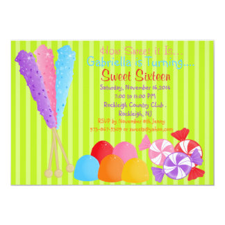 """Colorful Lots of Candy Sweet 16 Invitation 5"""" X 7"""" Invitation Card"""