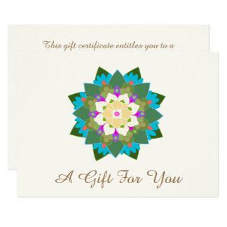 Colorful Lotus Floral Mandala Gift Certificate Card