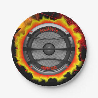 Colorful Loud Music Speaker Dancing Party Paper Plate