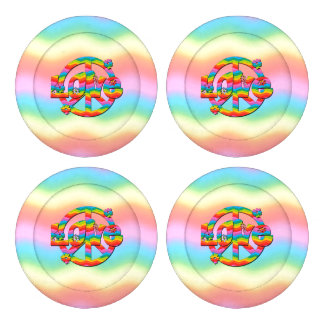 Colorful Love and Peace Button Covers