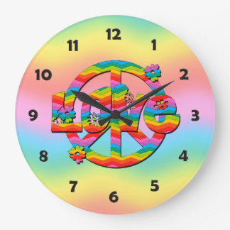 Colorful Love and Peace Large Clock