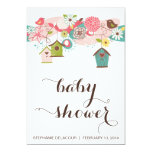 Colorful Love Birds and Bird Houses Baby Shower 5x7 Paper Invitation Card