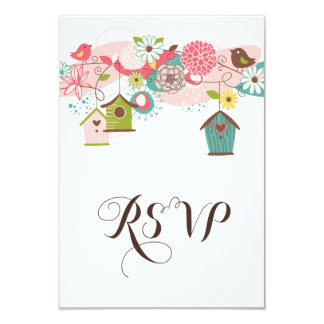 Colorful Love Birds & Bird Houses RSVP Invitation